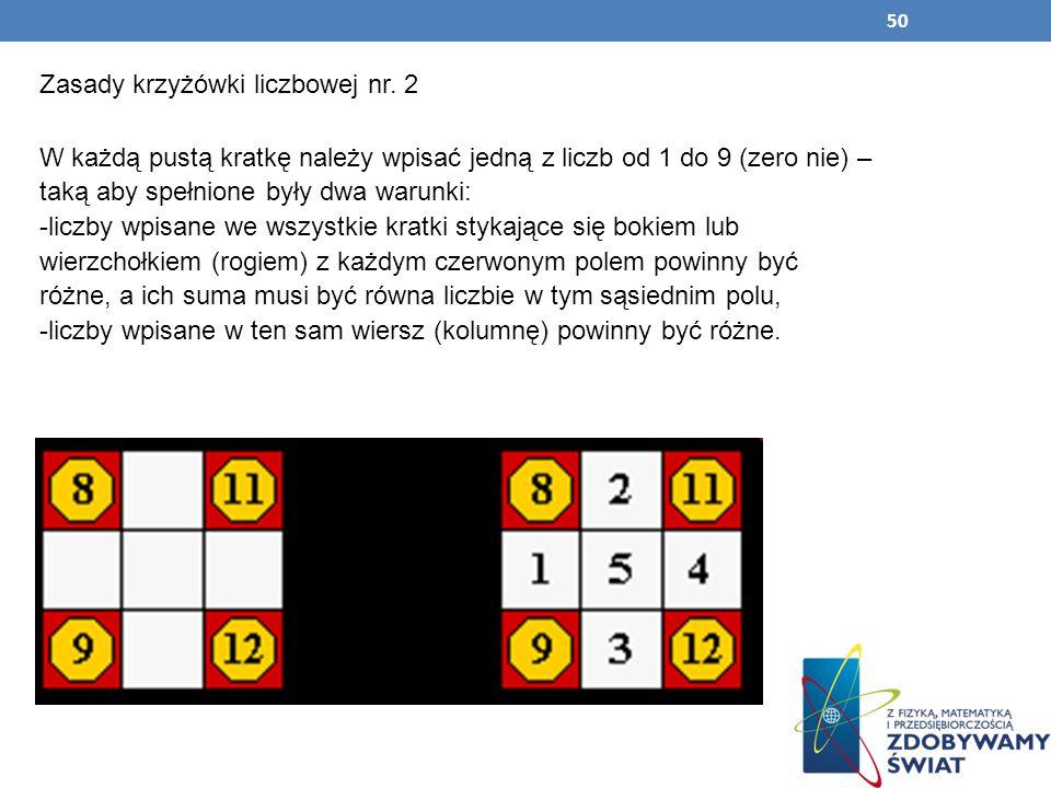 50 Zasady krzyżówki liczbowej nr. 2 W każdą pustą kratkę należy wpisać jedną z liczb od 1 do 9 (zero nie) – taką aby spełnione były dwa warunki: -licz