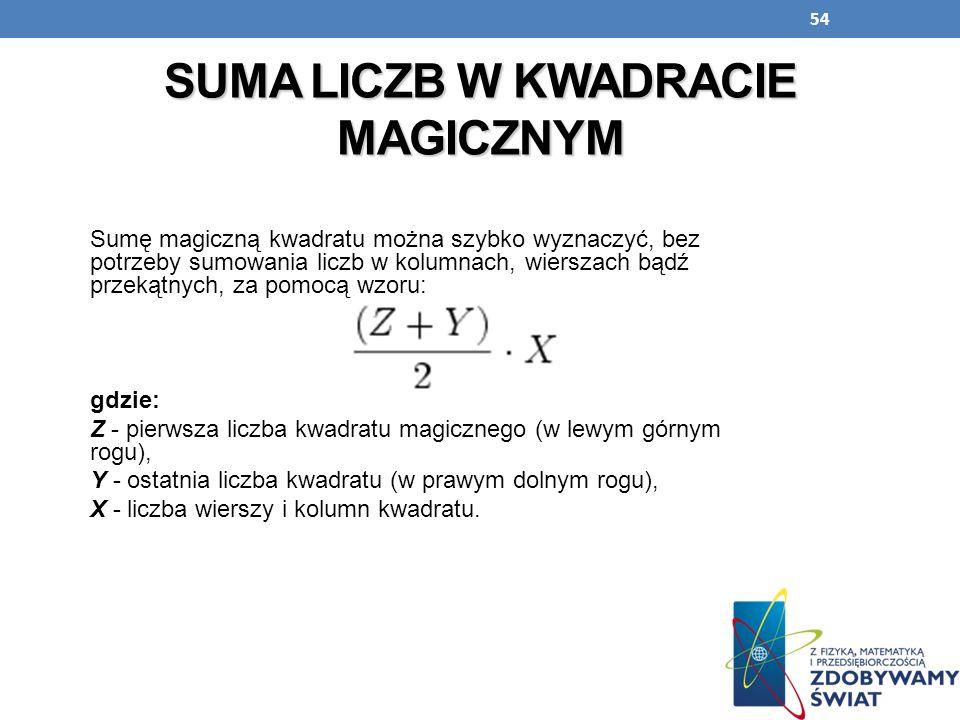 54 SUMA LICZB W KWADRACIE MAGICZNYM Sumę magiczną kwadratu można szybko wyznaczyć, bez potrzeby sumowania liczb w kolumnach, wierszach bądź przekątnyc