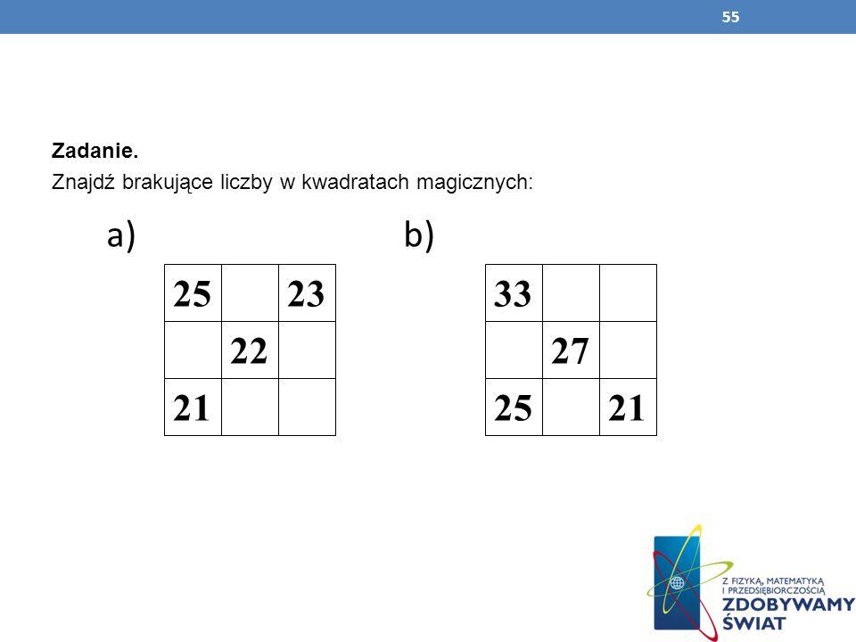 55 Zadanie. Znajdź brakujące liczby w kwadratach magicznych: a) b) 25 21 22 2333 21 27 25