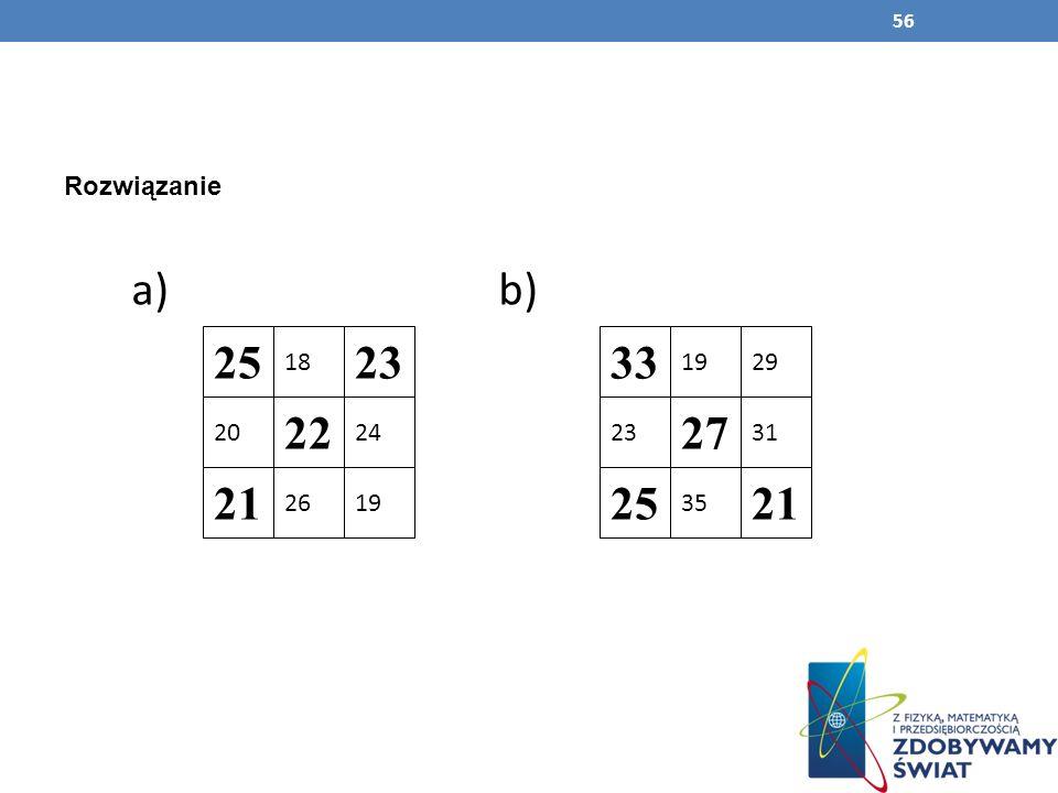 56 Rozwiązanie a) b) 25 20 21 26 22 18 23 24 19 33 1929 31 21 35 27 23 25