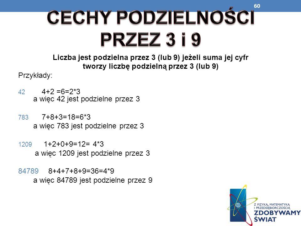 60 Liczba jest podzielna przez 3 (lub 9) jeżeli suma jej cyfr tworzy liczbę podzielną przez 3 (lub 9) Przykłady: 42 4+2 =6=2*3 a więc 42 jest podzieln