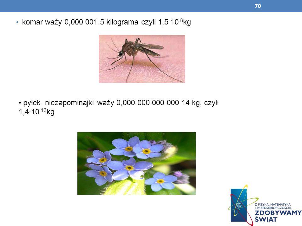 70 komar waży 0,000 001 5 kilograma czyli 1,510 -6 kg pyłek niezapominajki waży 0,000 000 000 000 14 kg, czyli 1,410 -13 kg