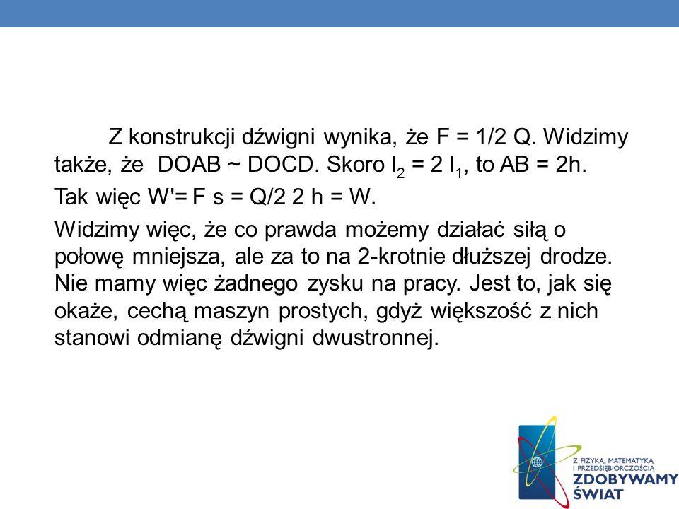 Z konstrukcji dźwigni wynika, że F = 1/2 Q. Widzimy także, że DOAB ~ DOCD. Skoro l 2 = 2 l 1, to AB = 2h. Tak więc W'= F s = Q/2 2 h = W. Widzimy więc