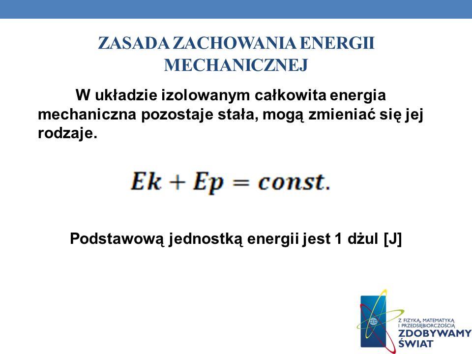 ZASADA ZACHOWANIA ENERGII MECHANICZNEJ W układzie izolowanym całkowita energia mechaniczna pozostaje stała, mogą zmieniać się jej rodzaje. Podstawową
