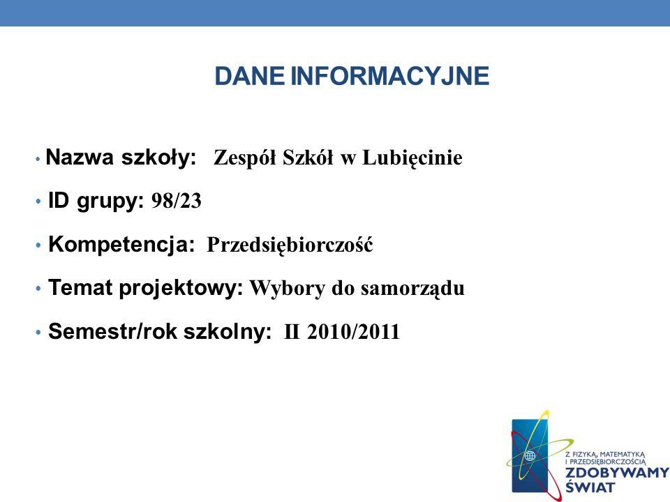 DANE INFORMACYJNE Nazwa szkoły: Zespół Szkół w Lubięcinie ID grupy: 98/23 Kompetencja: Przedsiębiorczość Temat projektowy: Wybory do samorządu Semestr/rok szkolny: II 2010/2011
