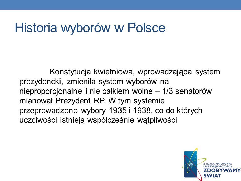 Historia wyborów w Polsce Pierwsze na ziemiach polskich demokratyczne wybory do Sejmu Ustawodawczego(powszechne, tajne, równe i bezpośrednie), z propo
