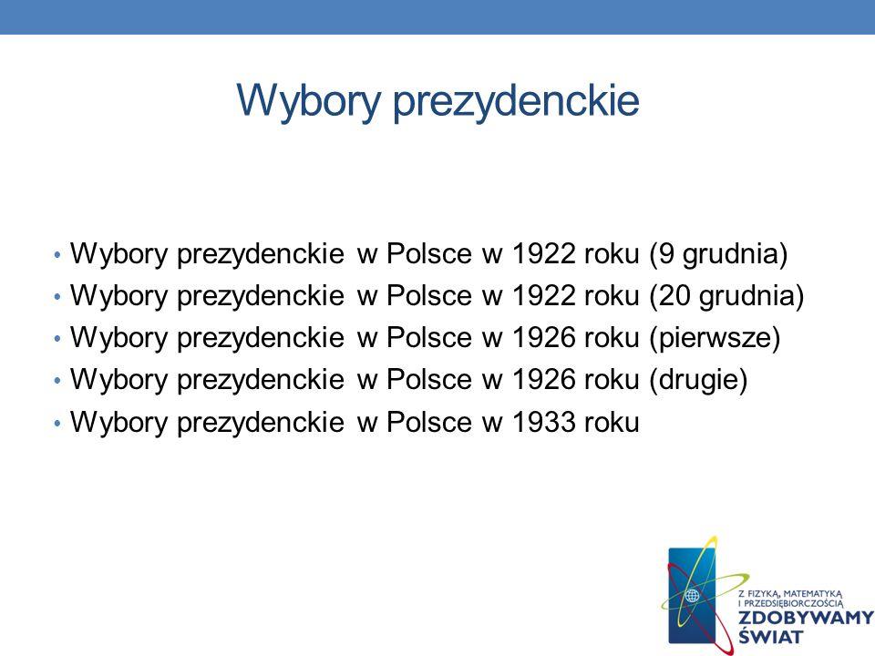 Wybory parlamentarne Wybory parlamentarne w Polsce w 1919 roku Wybory parlamentarne w Polsce w 1922 roku Wybory parlamentarne w Polsce w 1928 roku Wybory parlamentarne w Polsce w 1930 roku Wybory parlamentarne w Polsce w 1935 roku Wybory parlamentarne w Polsce w 1938 roku