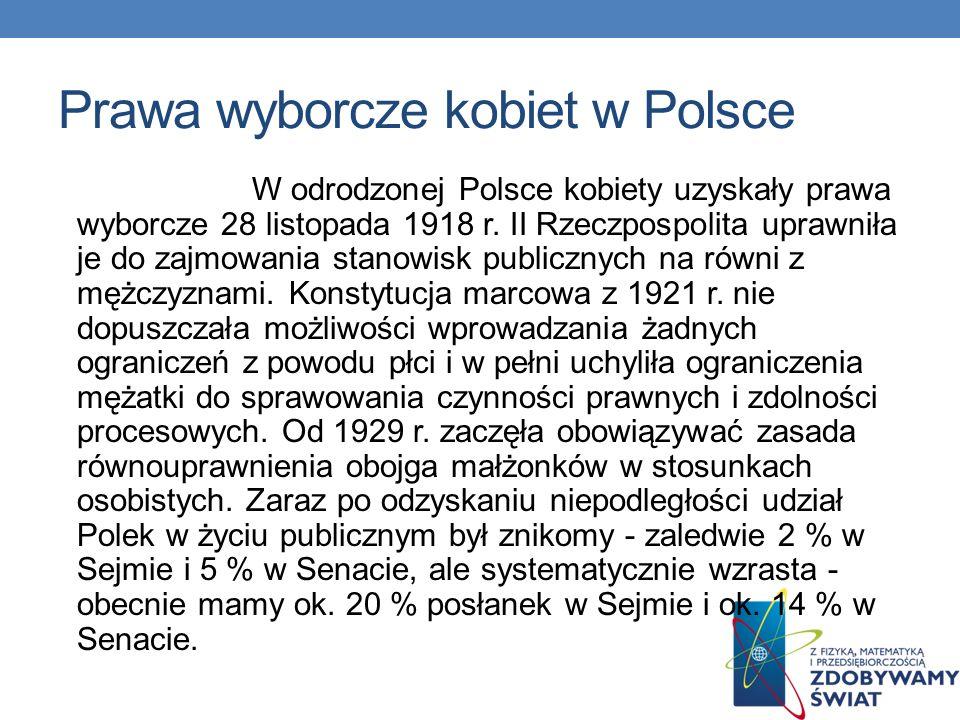 Prawa wyborcze kobiet w Polsce W XIX wieku pod względem prawnym dyskryminowano kobiet w Polsce we wszystkich trzech zaborach. I to nie tylko w dziedzi