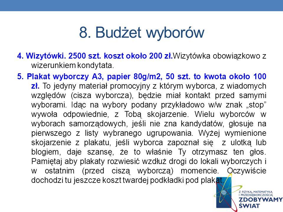 8.Budżet wyborów 3. List do wyborców (papier bez druku), koperty, 2000 szt.
