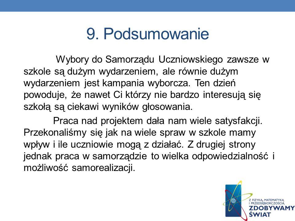 8. Budżet wyborów Przedstawiony budżet wyborów do samorządu uczniowskiego oczywiście będzie się różnił od realnego, ze względów finansowych. Szkoły cz