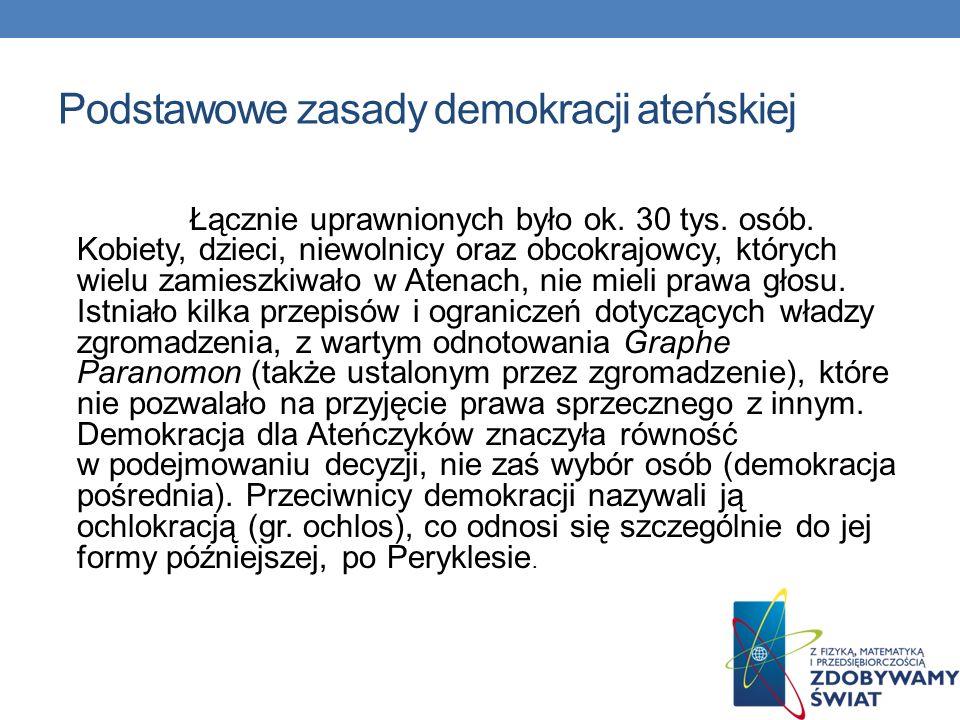 Podstawowe zasady demokracji ateńskiej Podstawą demokracji ateńskiej były rządy większości, rotacyjność urzędów i masowe uczestnictwo.