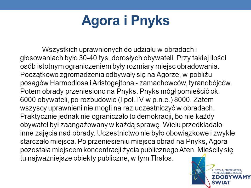Podstawowe zasady demokracji ateńskiej W wieku 18-20 lat każdy obywatel, przechodził dwustopniowe szkolenie obywatelskie. Szkolenie to było obowiązkie