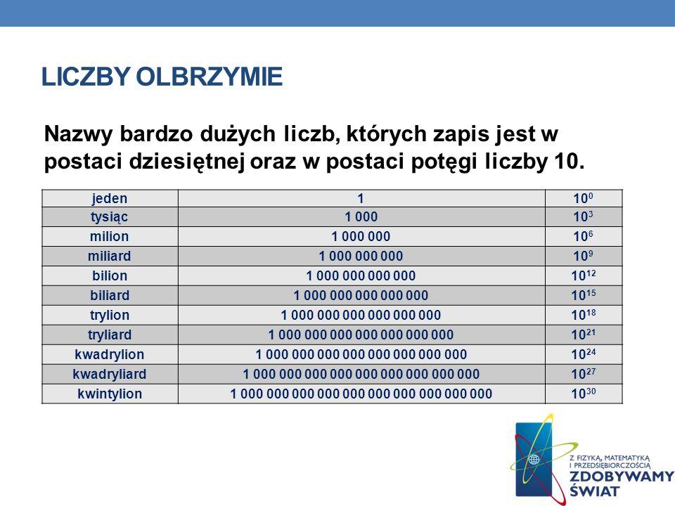 LICZBY OLBRZYMIE Nazwy bardzo dużych liczb, których zapis jest w postaci dziesiętnej oraz w postaci potęgi liczby 10. jeden110 0 tysiąc1 00010 3 milio
