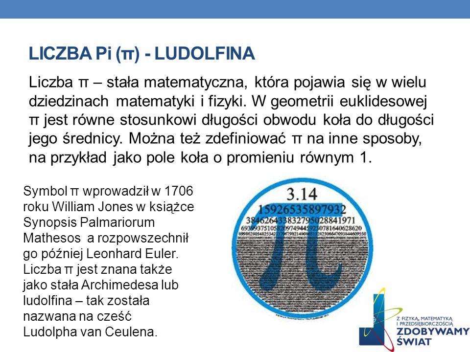 LICZBA Pi (π) - LUDOLFINA Liczba π – stała matematyczna, która pojawia się w wielu dziedzinach matematyki i fizyki.