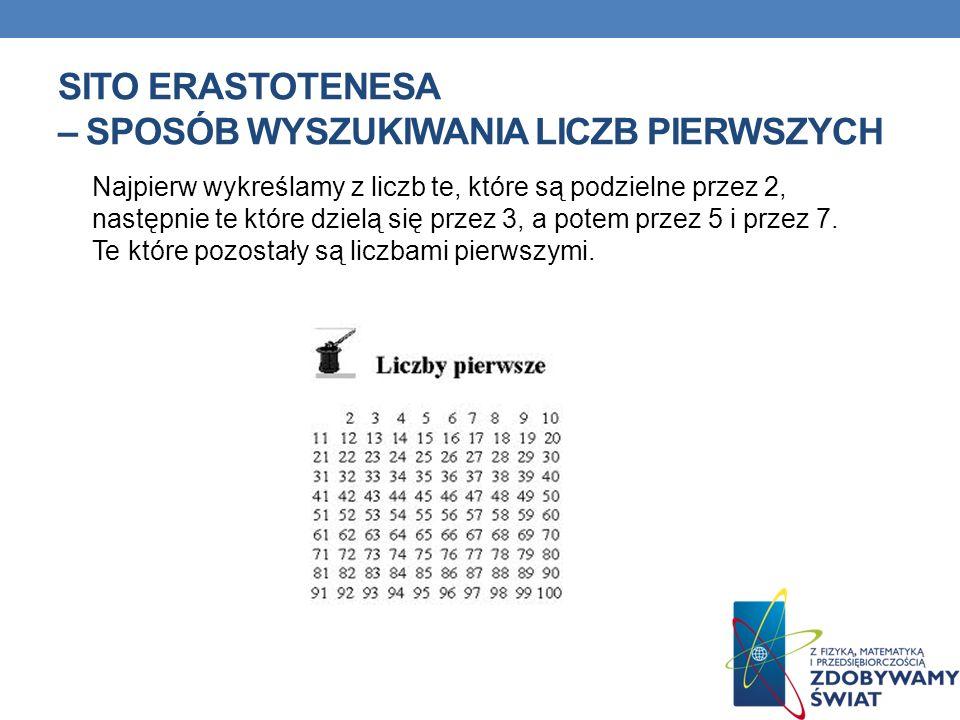 SITO ERASTOTENESA – SPOSÓB WYSZUKIWANIA LICZB PIERWSZYCH Najpierw wykreślamy z liczb te, które są podzielne przez 2, następnie te które dzielą się przez 3, a potem przez 5 i przez 7.