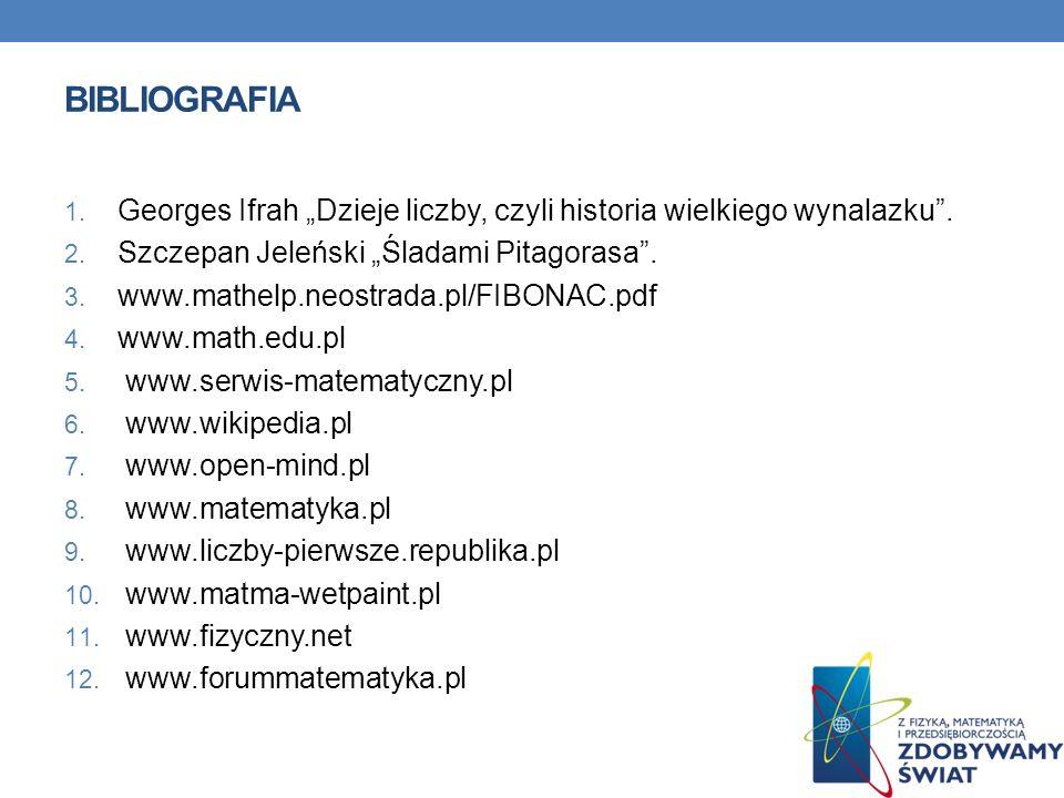 BIBLIOGRAFIA 1.Georges Ifrah Dzieje liczby, czyli historia wielkiego wynalazku.