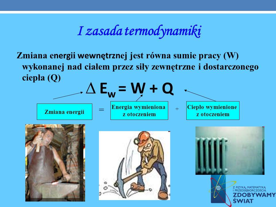 I zasada termodynamiki Zmiana e nergi i wewnętrzn ej jest równa sumie pracy (W) wykonanej nad ciałem przez siły zewnętrzne i dostarczonego ciepła (Q)