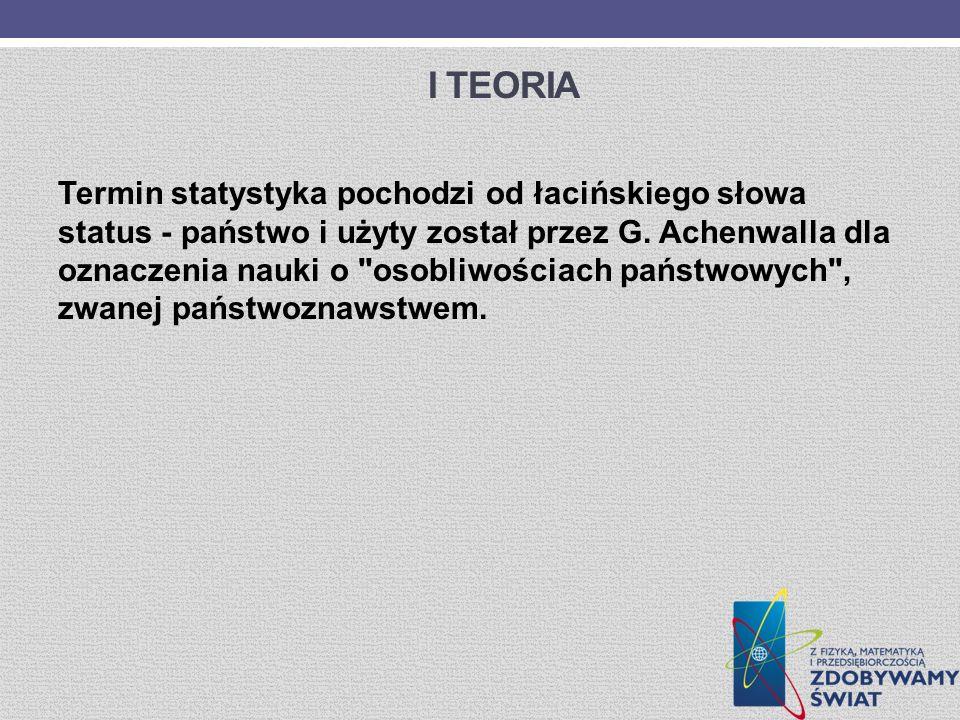 I TEORIA Termin statystyka pochodzi od łacińskiego słowa status - państwo i użyty został przez G. Achenwalla dla oznaczenia nauki o
