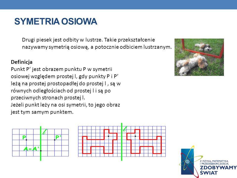 SYMETRIA OSIOWA Drugi piesek jest odbity w lustrze. Takie przekształcenie nazywamy symetrią osiową, a potocznie odbiciem lustrzanym. Definicja Punkt P