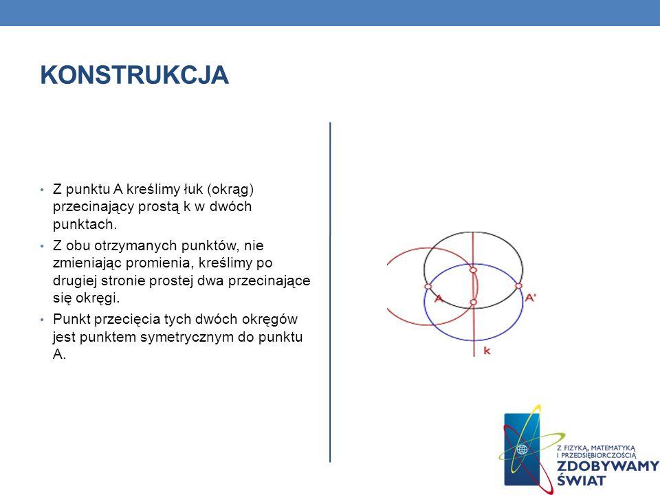 KONSTRUKCJA Z punktu A kreślimy łuk (okrąg) przecinający prostą k w dwóch punktach. Z obu otrzymanych punktów, nie zmieniając promienia, kreślimy po d