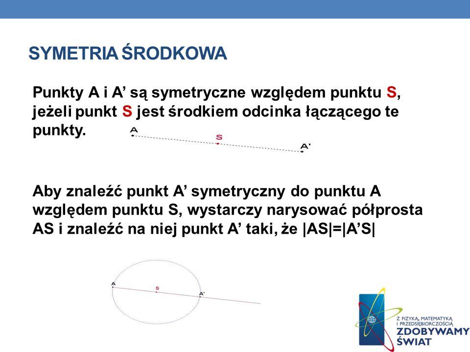 SYMETRIA ŚRODKOWA Punkty A i A są symetryczne względem punktu S, jeżeli punkt S jest środkiem odcinka łączącego te punkty. Aby znaleźć punkt A symetry