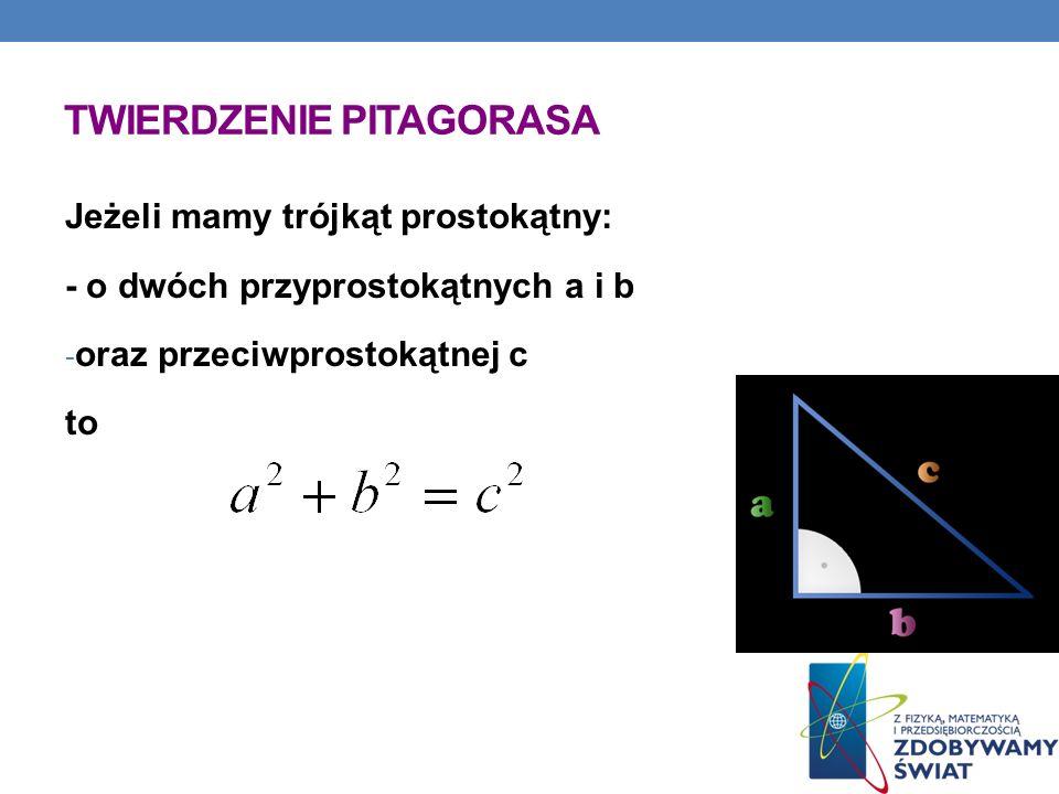 TWIERDZENIE PITAGORASA Jeżeli mamy trójkąt prostokątny: - o dwóch przyprostokątnych a i b - oraz przeciwprostokątnej c to