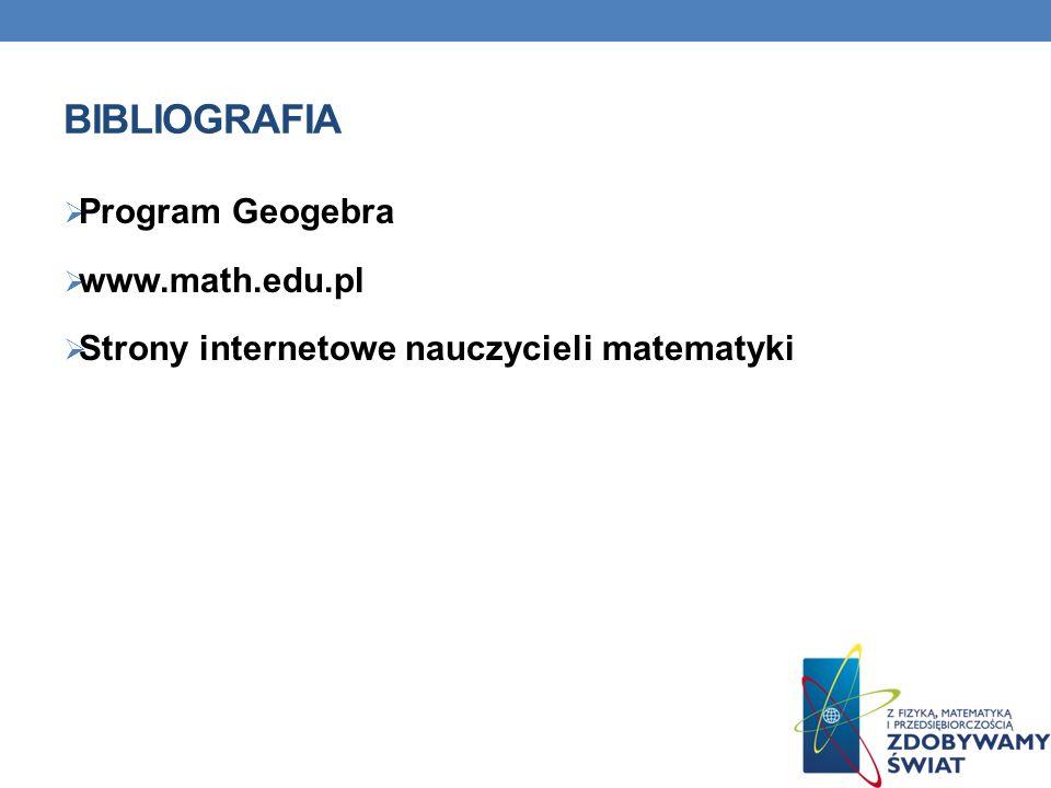BIBLIOGRAFIA Program Geogebra www.math.edu.pl Strony internetowe nauczycieli matematyki