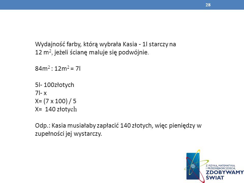 28 Wydajność farby, którą wybrała Kasia - 1l starczy na 12 m 2, jeżeli ścianę maluje się podwójnie. 84m 2 : 12m 2 = 7l 5l- 100złotych 7l- x X= (7 x 10
