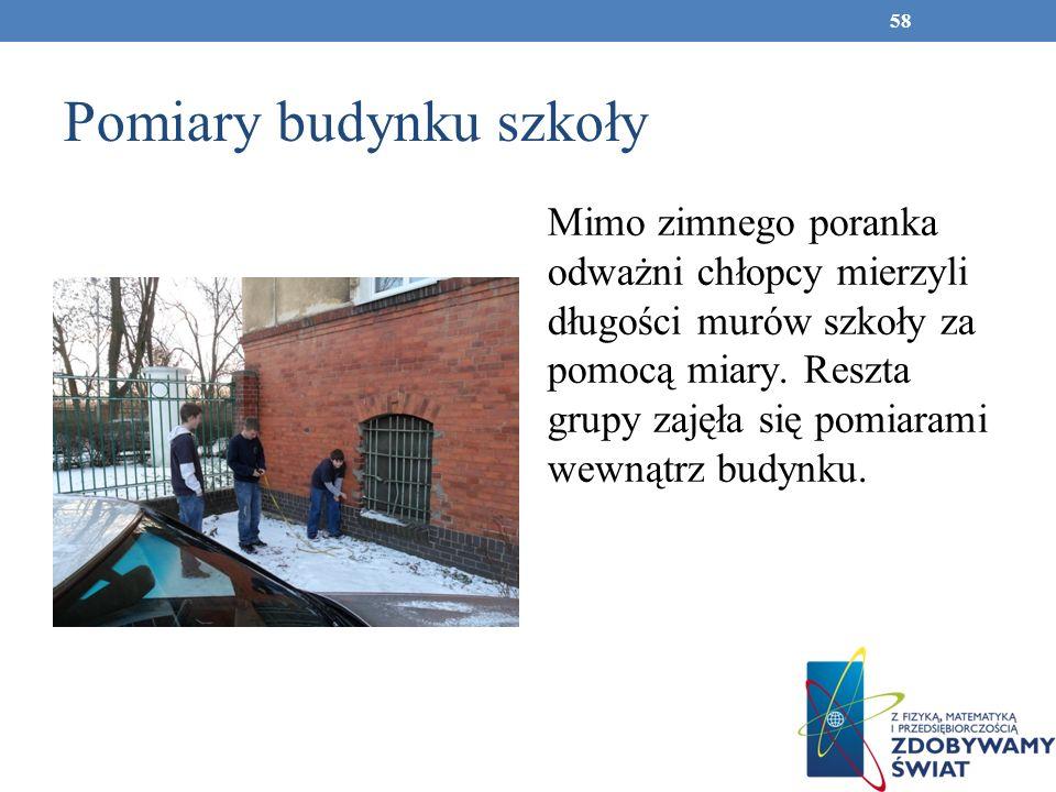 Pomiary budynku szkoły Mimo zimnego poranka odważni chłopcy mierzyli długości murów szkoły za pomocą miary. Reszta grupy zajęła się pomiarami wewnątrz
