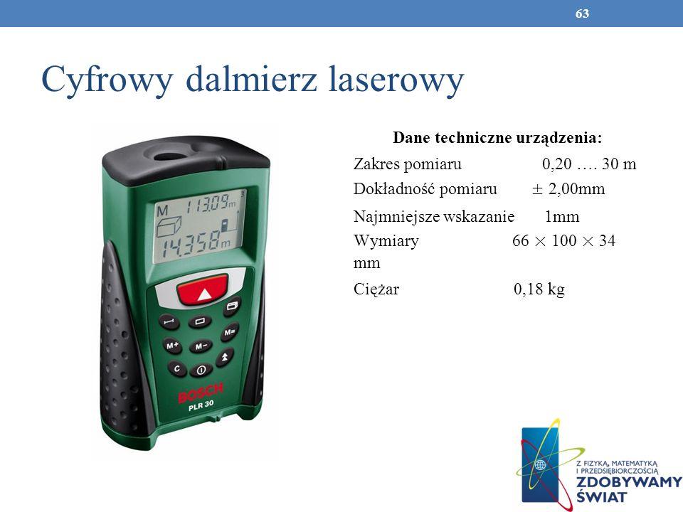 Cyfrowy dalmierz laserowy Dane techniczne urządzenia: Zakres pomiaru 0,20 …. 30 m Dokładność pomiaru ± 2,00mm Najmniejsze wskazanie 1mm Wymiary 66 × 1
