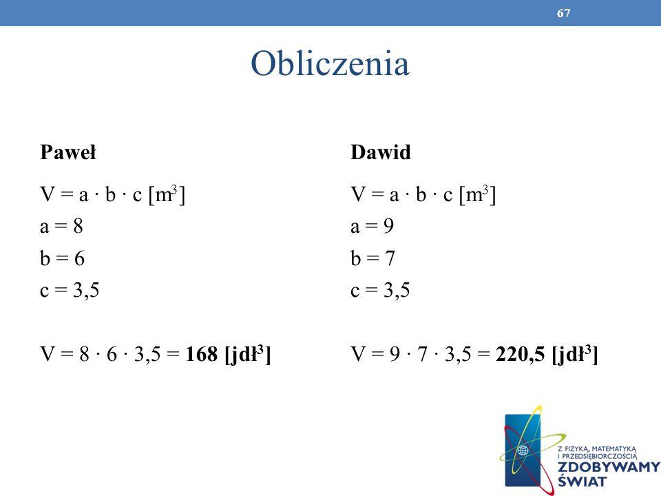 Obliczenia PawełDawid V = a b c [m 3 ] a = 8 b = 6 c = 3,5 V = 8 6 3,5 = 168 [jdł 3 ] V = a b c [m 3 ] a = 9 b = 7 c = 3,5 V = 9 7 3,5 = 220,5 [jdł 3