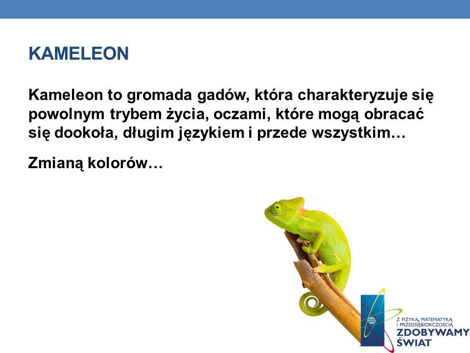 KAMELEON Kameleon to gromada gadów, która charakteryzuje się powolnym trybem życia, oczami, które mogą obracać się dookoła, długim językiem i przede w