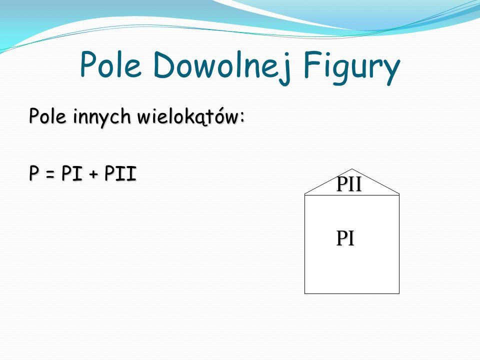Pole Dowolnej Figury Pole innych wielokątów: P = PI + PII PII PI