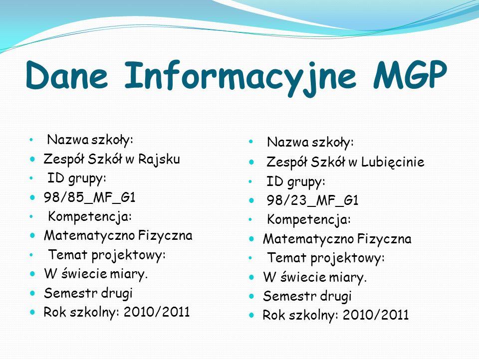 Dane Informacyjne MGP Nazwa szkoły: Zespół Szkół w Rajsku ID grupy: 98/85_MF_G1 Kompetencja: Matematyczno Fizyczna Temat projektowy: W świecie miary.