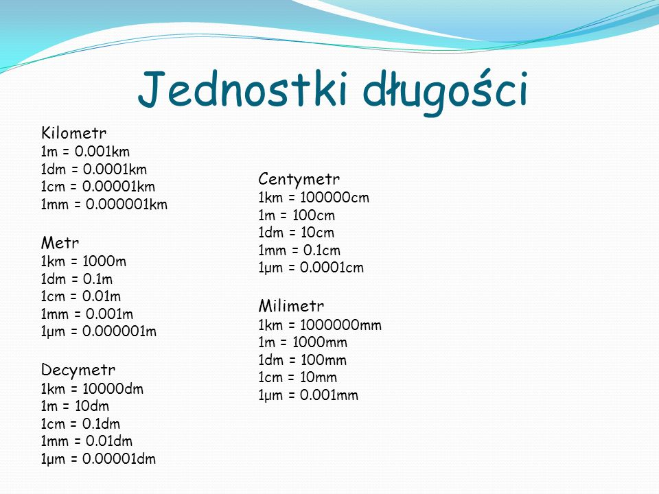 Jednostki długości Kilometr 1m = 0.001km 1dm = 0.0001km 1cm = 0.00001km 1mm = 0.000001km Metr 1km = 1000m 1dm = 0.1m 1cm = 0.01m 1mm = 0.001m 1μm = 0.000001m Decymetr 1km = 10000dm 1m = 10dm 1cm = 0.1dm 1mm = 0.01dm 1μm = 0.00001dm Centymetr 1km = 100000cm 1m = 100cm 1dm = 10cm 1mm = 0.1cm 1μm = 0.0001cm Milimetr 1km = 1000000mm 1m = 1000mm 1dm = 100mm 1cm = 10mm 1μm = 0.001mm