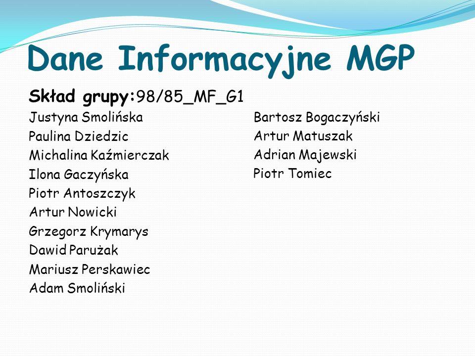 Dane Informacyjne MGP Skład grupy: 98/85_MF_G1 Justyna Smolińska Paulina Dziedzic Michalina Kaźmierczak Ilona Gaczyńska Piotr Antoszczyk Artur Nowicki