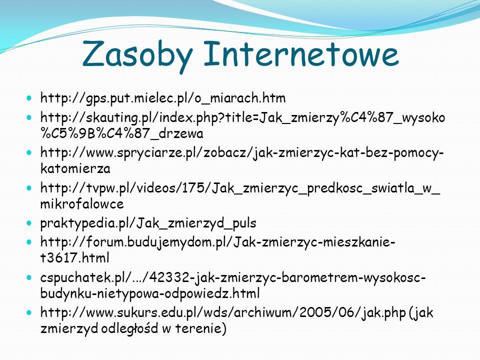 Zasoby Internetowe http://gps.put.mielec.pl/o_miarach.htm http://skauting.pl/index.php?title=Jak_zmierzy%C4%87_wysoko %C5%9B%C4%87_drzewa http://www.spryciarze.pl/zobacz/jak-zmierzyc-kat-bez-pomocy- katomierza http://tvpw.pl/videos/175/Jak_zmierzyc_predkosc_swiatla_w_ mikrofalowce praktypedia.pl/Jak_zmierzyd_puls http://forum.budujemydom.pl/Jak-zmierzyc-mieszkanie- t3617.html cspuchatek.pl/.../42332-jak-zmierzyc-barometrem-wysokosc- budynku-nietypowa-odpowiedz.html http://www.sukurs.edu.pl/wds/archiwum/2005/06/jak.php (jak zmierzyd odległośd w terenie)