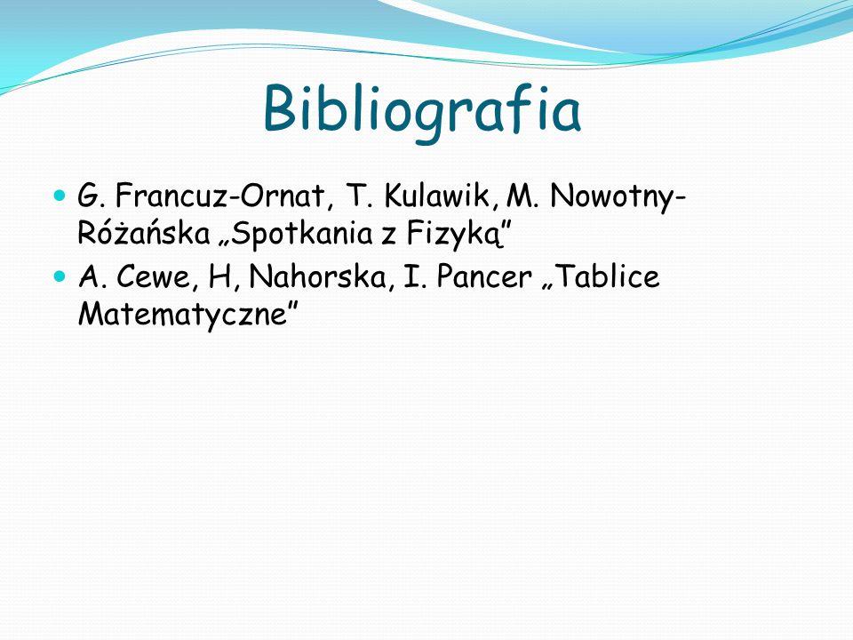 Bibliografia G. Francuz-Ornat, T. Kulawik, M. Nowotny- Różańska Spotkania z Fizyką A. Cewe, H, Nahorska, I. Pancer Tablice Matematyczne