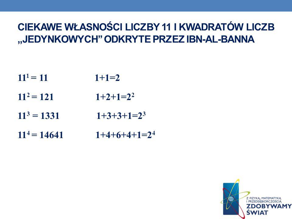 CIEKAWE WŁASNOŚCI LICZBY 11 I KWADRATÓW LICZB JEDYNKOWYCH ODKRYTE PRZEZ IBN-AL-BANNA 11 1 = 11 1+1=2 11 2 = 121 1+2+1=2 2 11 3 = 1331 1+3+3+1=2 3 11 4