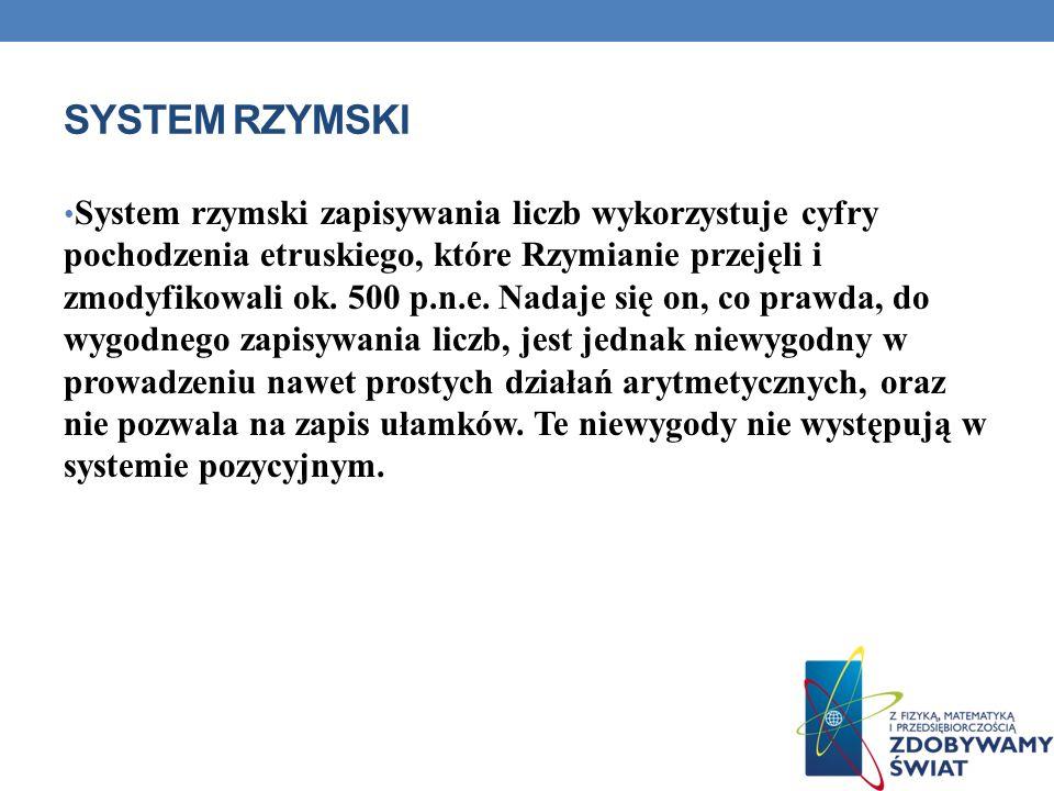 SYSTEM RZYMSKI System rzymski zapisywania liczb wykorzystuje cyfry pochodzenia etruskiego, które Rzymianie przejęli i zmodyfikowali ok. 500 p.n.e. Nad