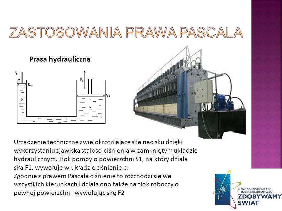 Prasa hydrauliczna Urządzenie techniczne zwielokrotniające siłę nacisku dzięki wykorzystaniu zjawiska stałości ciśnienia w zamkniętym układzie hydraul