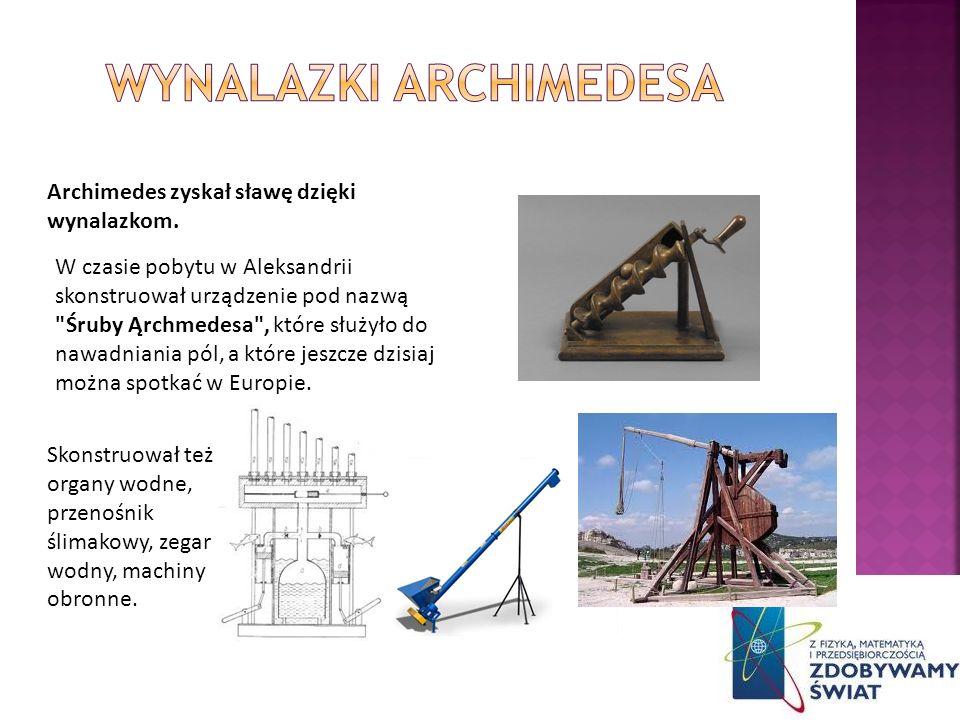 W czasie pobytu w Aleksandrii skonstruował urządzenie pod nazwą