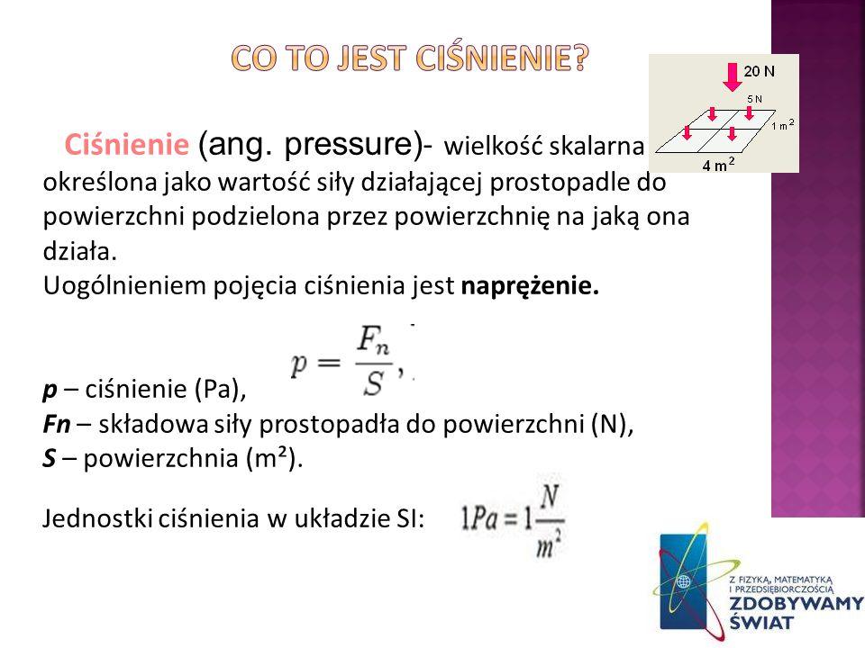 Ciśnienie (ang. pressure) - wielkość skalarna określona jako wartość siły działającej prostopadle do powierzchni podzielona przez powierzchnię na jaką