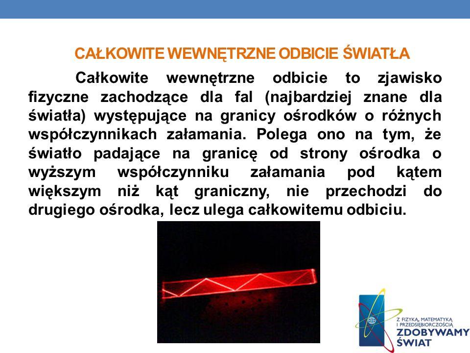 CAŁKOWITE WEWNĘTRZNE ODBICIE ŚWIATŁA Całkowite wewnętrzne odbicie to zjawisko fizyczne zachodzące dla fal (najbardziej znane dla światła) występujące na granicy ośrodków o różnych współczynnikach załamania.