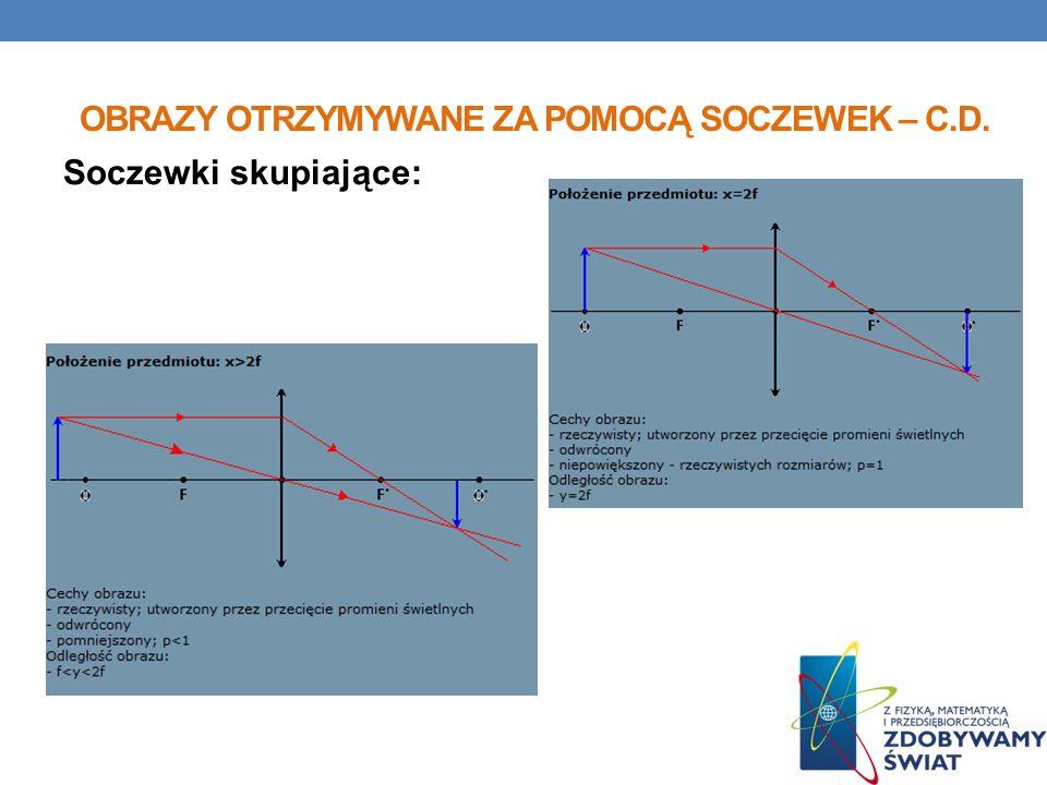 OBRAZY OTRZYMYWANE ZA POMOCĄ SOCZEWEK – C.D. Soczewki skupiające: