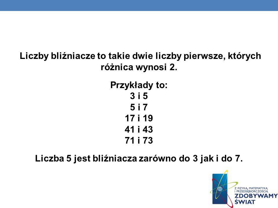 Liczby bliźniacze to takie dwie liczby pierwsze, których różnica wynosi 2. Przykłady to: 3 i 5 5 i 7 17 i 19 41 i 43 71 i 73 Liczba 5 jest bliźniacza