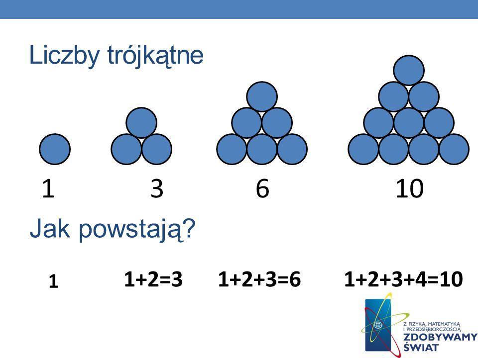 Liczby trójkątne 31610 1+2=31+2+3=61+2+3+4=10 Jak powstają? 1
