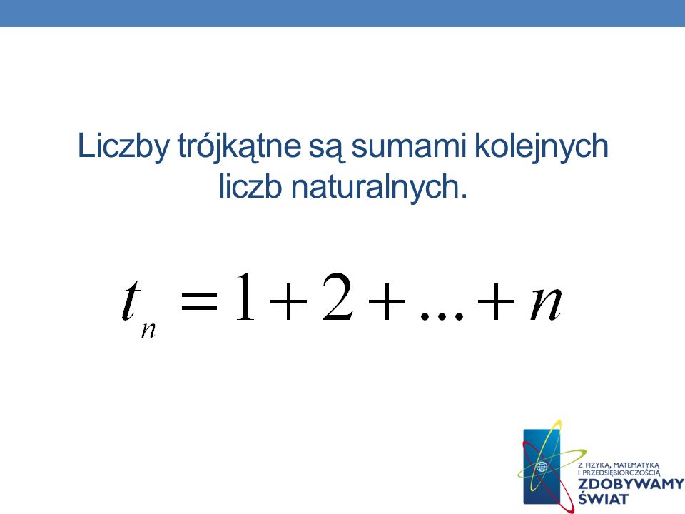 Liczby trójkątne są sumami kolejnych liczb naturalnych.