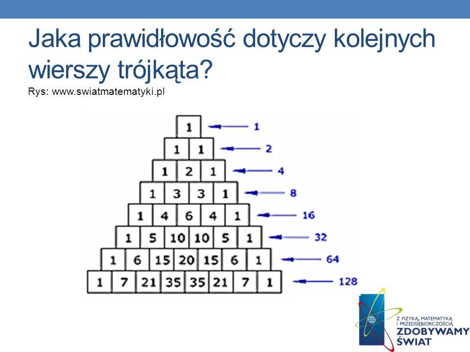 Jaka prawidłowość dotyczy kolejnych wierszy trójkąta? Rys: www.swiatmatematyki.pl