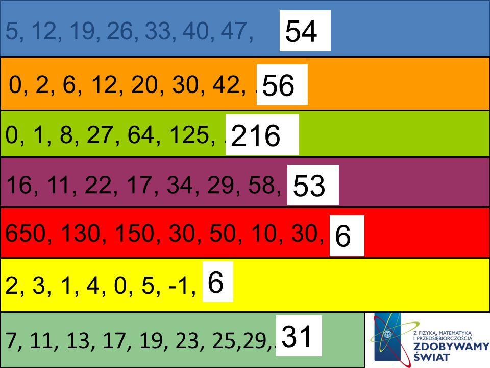 5, 12, 19, 26, 33, 40, 47, 0, 2, 6, 12, 20, 30, 42,...... 16, 11, 22, 17, 34, 29, 58,..... 2, 3, 1, 4, 0, 5, -1,... 0, 1, 8, 27, 64, 125,...... 650, 1